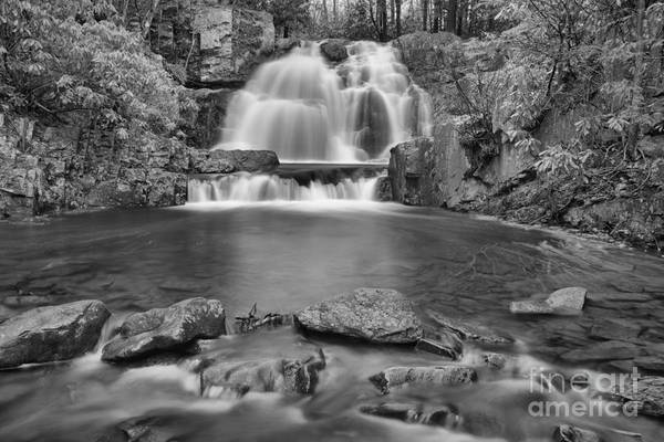 Photograph - Hawk Run Falls Black And White by Adam Jewell