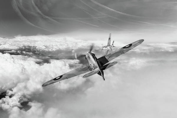 Photograph - Hawker Hurricane Deflection Shot Bw Version by Gary Eason