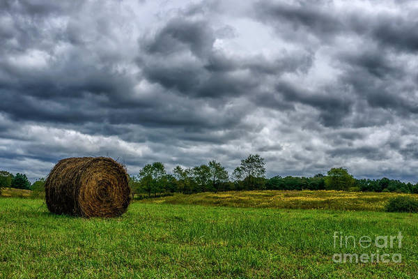 Photograph - Hay Bale And Stormy Sky by Thomas R Fletcher