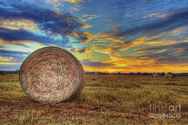 Wall Art - Photograph - Hay Bale At Sunrise  by Larry Braun