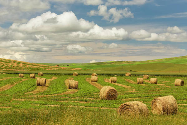 Wall Art - Photograph - Hay Bales And Clouds, Palouse Region by Adam Jones