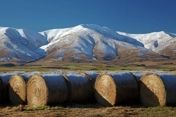 Wall Art - Photograph - Hay Bales And Kakanui Mountains by David Wall