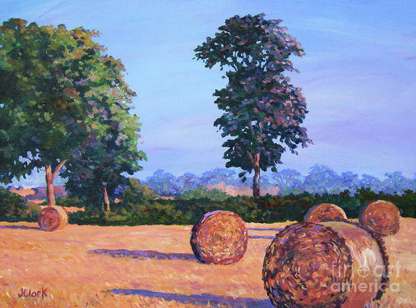 Haybale Wall Art - Painting - Hay-bales In Evening Light by John Clark