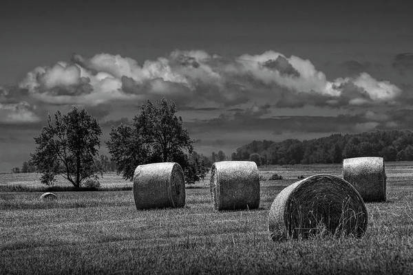 Photograph - Hay Bales On A Harvest Farm Field In West Michigan In Black And  by Randall Nyhof