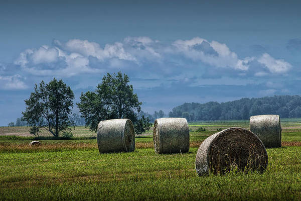 Wall Art - Photograph - Hay Bales On A Harvest Farm Field In West Michigan by Randall Nyhof