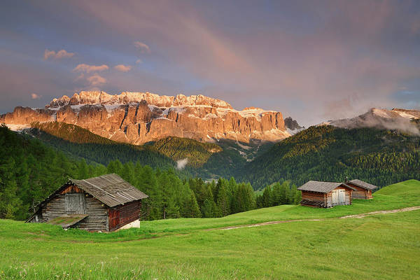 Chalet Photograph - Hay Barn In Front Of The Sella Range by Andreas Strauss / Look-foto