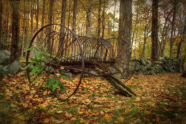 Photograph - Hay Rake On Farm In Autumn by Joann Vitali