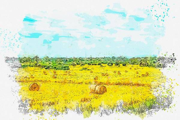 Painting - Hayfield Countryside -  Watercolor By Ahmet Asar by Ahmet Asar