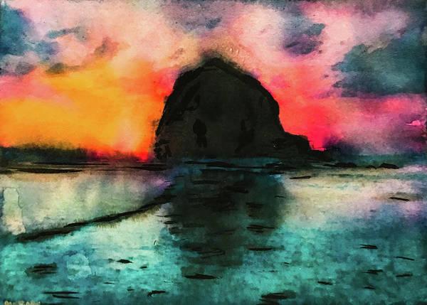 Oregon Coast Mixed Media - Haystack Rock Sunset by Lisa McKinney Kreymborg
