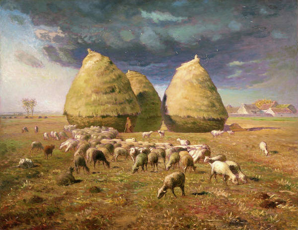 Wall Art - Painting - Haystacks, Autumn - Digital Remastered Edition by Jean-Francois Millet
