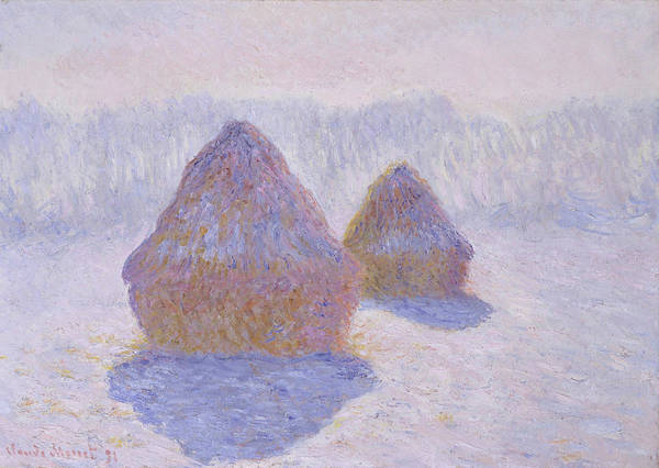 Barley Painting - Haystacks, Effect Of Snow And Sun - Digital Remastered Edition by Claude Monet