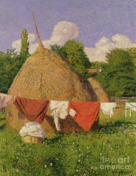 Clothesline Painting - Haystacks by Evany Grunwald Bela