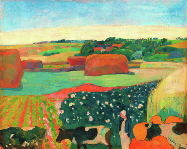 Wall Art - Painting - Haystacks In Brittany - Digital Remastered Edition by Paul Gauguin