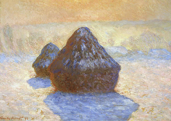 Barley Painting - Haystacks, Snow Effect - Digital Remastered Edition by Claude Monet