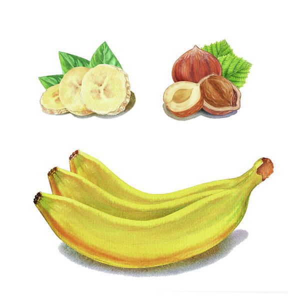Painting - Hazelnut Banana Smile Watercolor Food Illustration by Irina Sztukowski