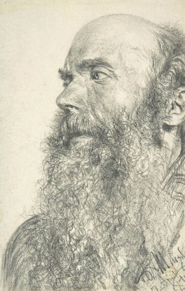 Drawing - Head Of A Bearded Man by Adolph Menzel