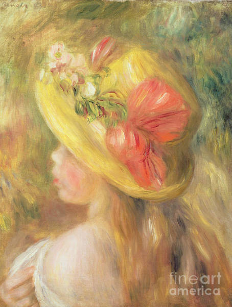 Wall Art - Painting - Head Of A Girl With A Hat, 1893  by Pierre Auguste Renoir