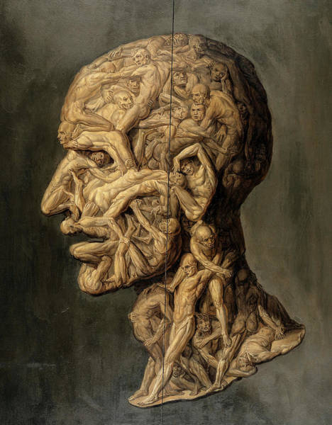 Wall Art - Painting - Head Of A Man Composed Of Nude Figures Wrestling, Testa Anatomica, 1854 by Filippo Balbi
