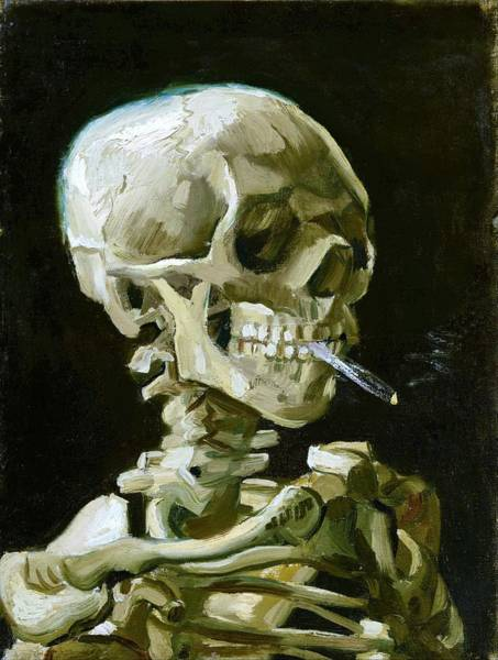 Wall Art - Painting - Head Of A Skeleton With A Burning Cigarette - Original White by Vincent van Gogh