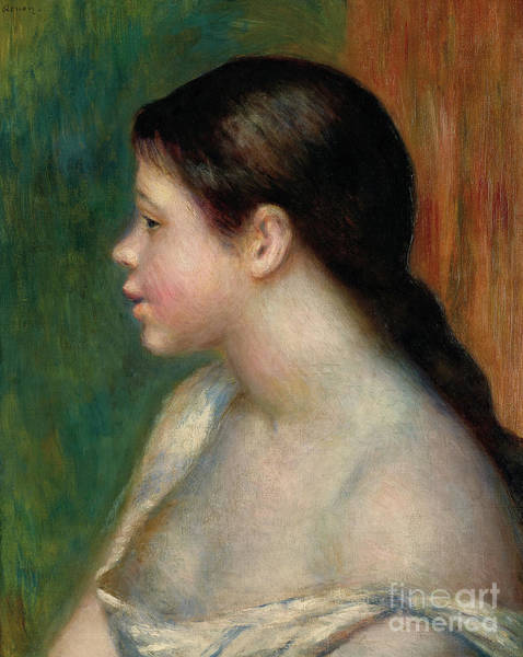 Wall Art - Painting - Head Of A Young Girl, 1882 by Pierre Auguste Renoir