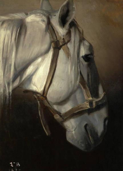 Wall Art - Painting - Head Of The White Horse, 1850 by Leon Joseph Florentin Bonnat