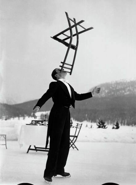 Wall Art - Photograph - Head Waiter Rene Breguet Balancing Chair by Alfred Eisenstaedt
