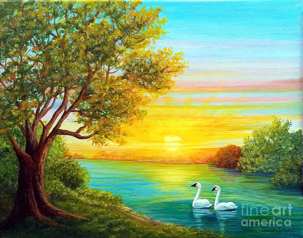 Trumpeter Swan Painting - Heading Home by Sarah Irland