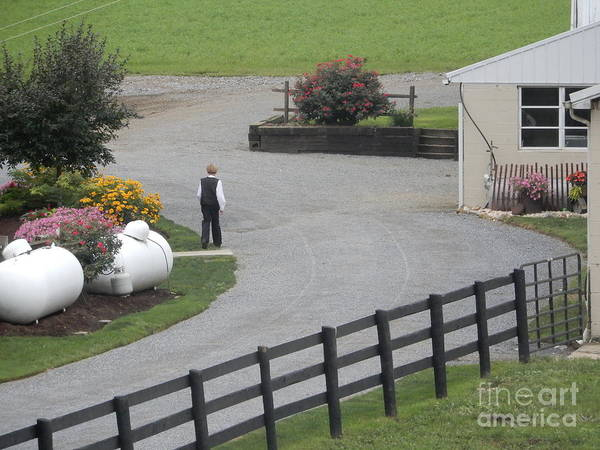 Photograph - Heading To The Barn For Church Preparations by Christine Clark