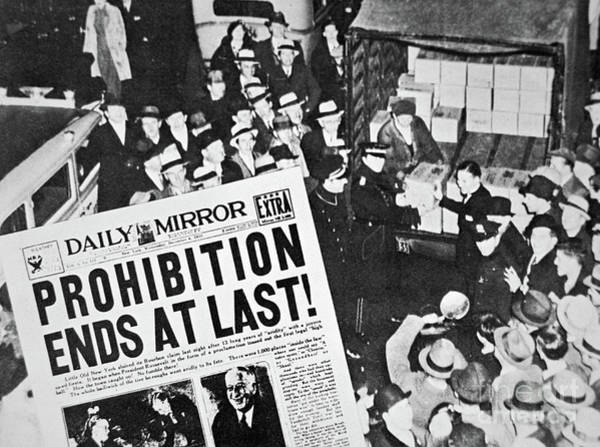 Law School Wall Art - Photograph - Headline Declaring The End Of Prohibition, 6th December, 1933 by American School
