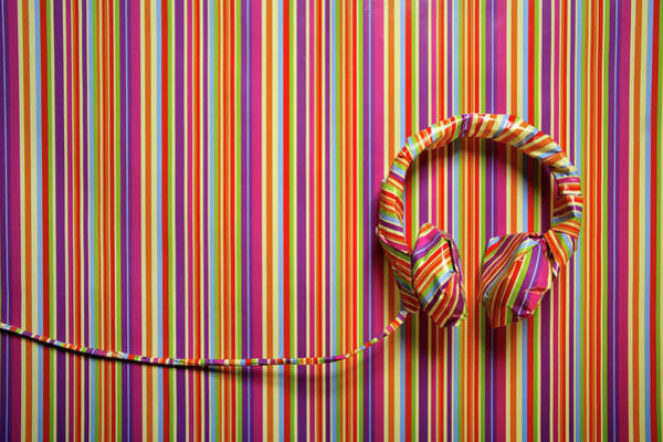 Horizontal Stripes Photograph - Headphones In Striped Paper, Landscape by Emma Innocenti