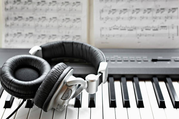 Piano Photograph - Headphones On Electronic Piano Keyboard by Wilfried Krecichwost