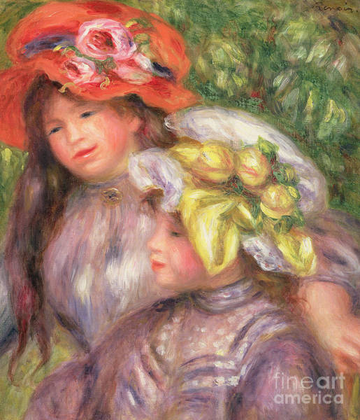 Wall Art - Painting - Heads Of Two Girls With Hats by Pierre Auguste Renoir