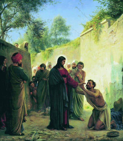 Jesus Of Nazareth Wall Art - Painting - Healing The Blind Man, 1871 by Carl Bloch