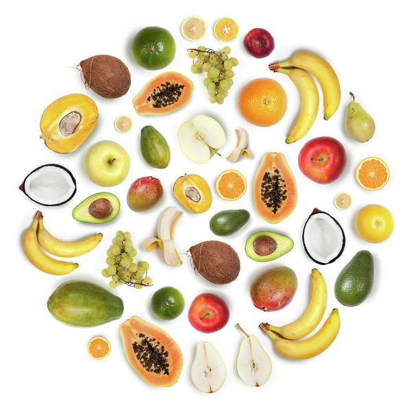 Apple Peel Wall Art - Photograph - Healthy Fruits Arranged In A Round by Maxiphoto