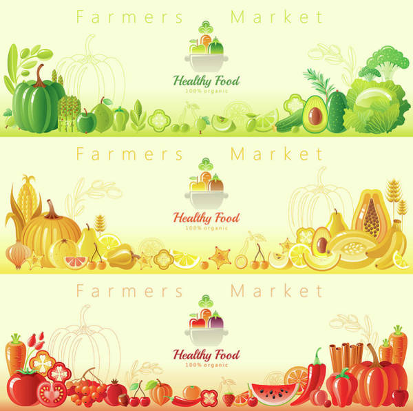 Vegetarian Digital Art - Healthy Organic Food Banners by O-che
