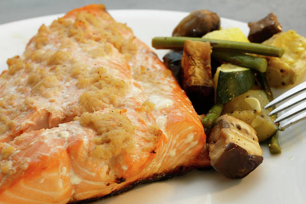Photograph - Healthy Salmon Dinner With Roasted Vegetables  by Kyle Lee