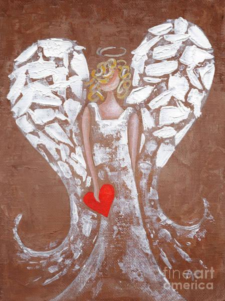 Wishing Well Painting - Heard On High Angel - Brown Heart by Annie Troe