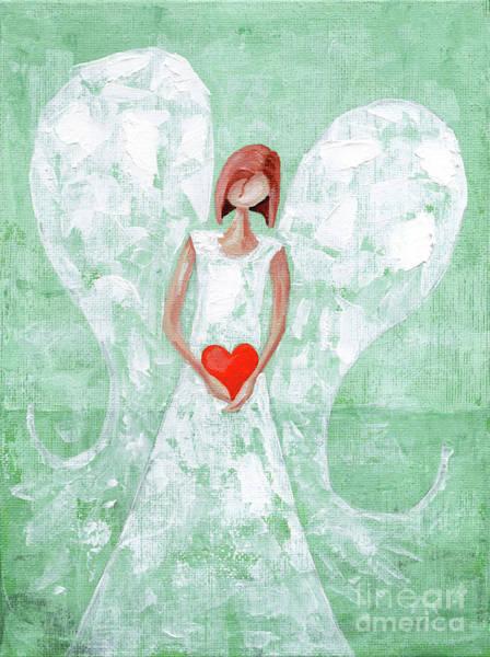 Wishing Well Painting - Heard On High Angel - Mint Green Heart by Annie Troe