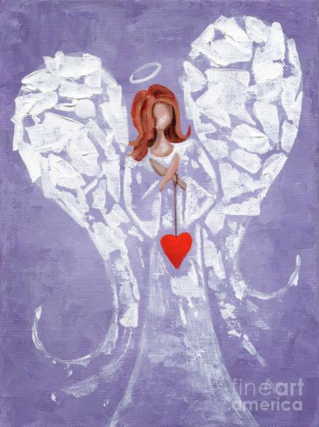 Wishing Well Painting - Heard On High Angel - Purple Heart by Annie Troe