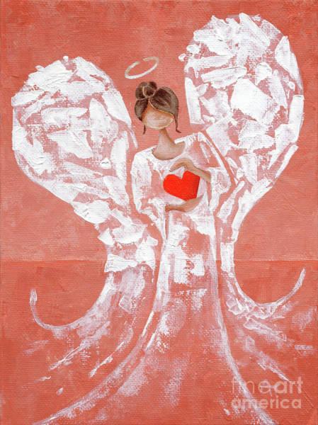 Wishing Well Painting - Heard On High Angel - Rust Orange Heart by Annie Troe