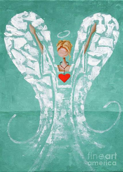 Wishing Well Painting - Heard On High Angel - Teal Heart by Annie Troe