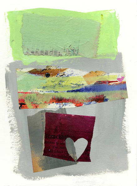 Acrylic Collage Painting - Heart #30 by Jane Davies