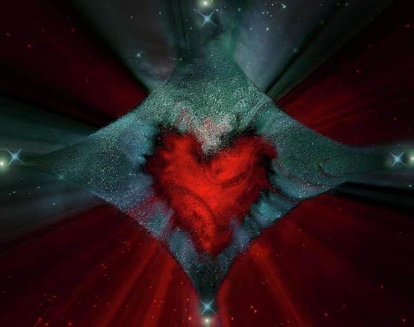 Wall Art - Digital Art - Heart And Stars by Linda Sannuti