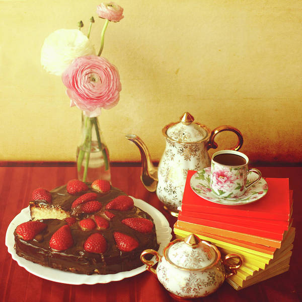 Vase Of Flowers Photograph - Heart Shaped Chocolate Strawberry Cake by Julia Davila-lampe