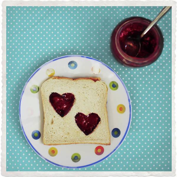 Wall Art - Photograph - Heart Shaped Jam On Toast by Julia Davila-lampe