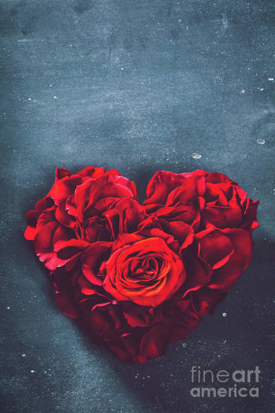 Wall Art - Photograph - Heart-shaped Rose Bouquet On Stone Background. by Michal Bednarek