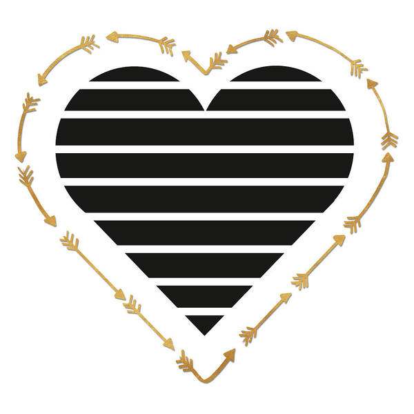 Heart Gold Painting - Heart Stripes And Gold Arrows by Sd Graphics Studio