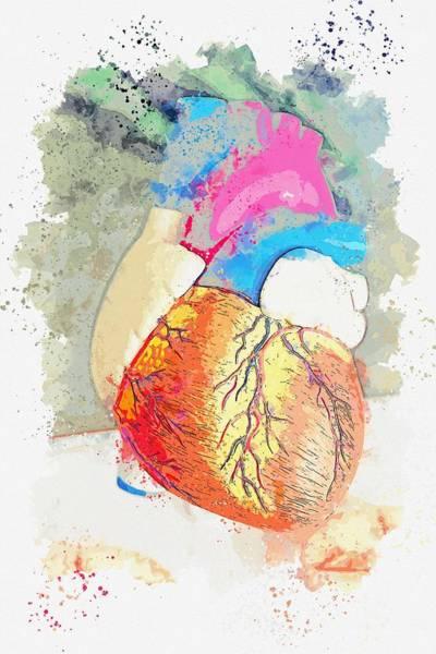 Wall Art - Painting - heart -  watercolor by Adam Asar by Adam Asar