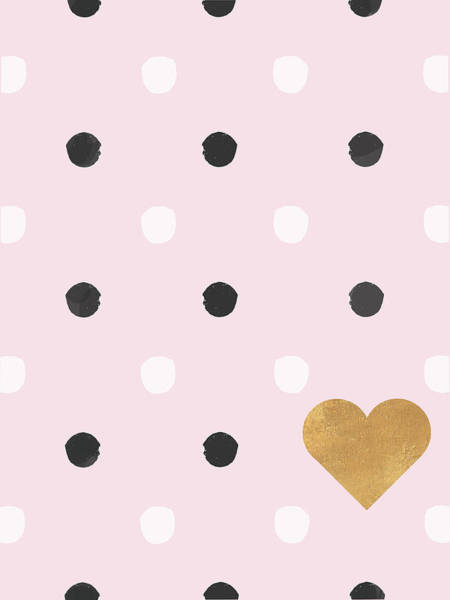 Wall Art - Painting - Heart White And Black Dots On Pink by Sd Graphics Studio