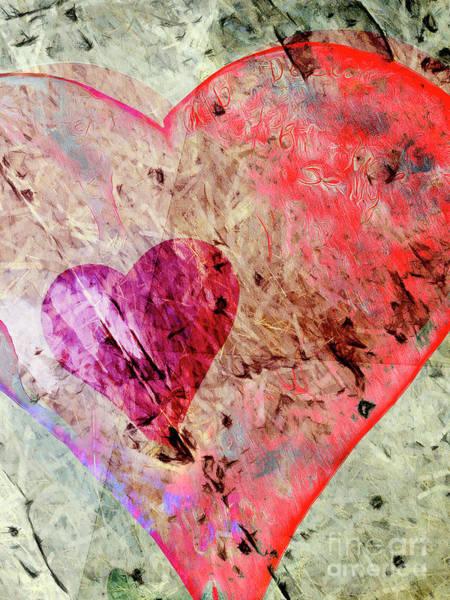 Wall Art - Digital Art - Hearts Abstract 2 Vert by Edward Fielding